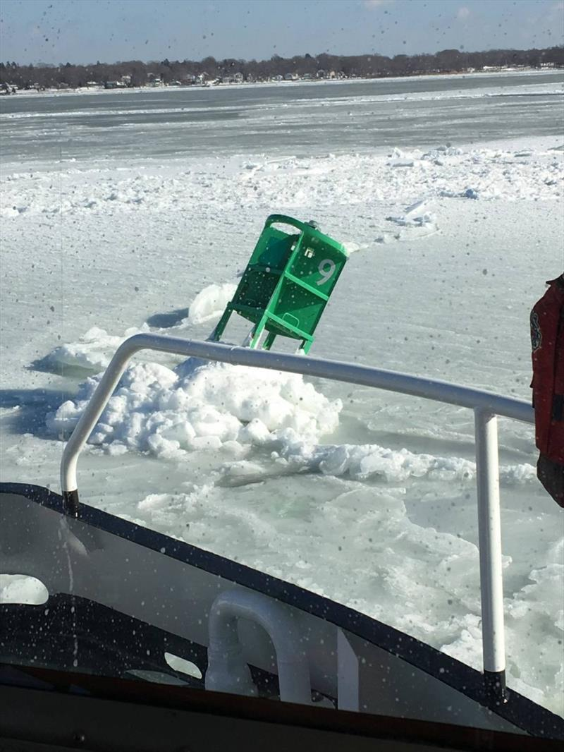 Coast Guard Aids to Navigation Team Bristol approaches a buoy that was knocked off position by ice, Tuesday, Jan. 9, 2018, in the Providence River. The team used their Buoy Utility Stern Loading (BUSL) boat buoy to tow the buoy out - photo © U.S. Coast Guard