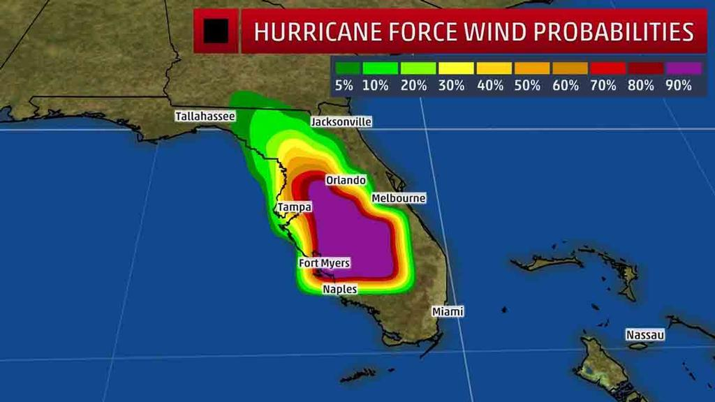 Hurricane-Force Wind Probabilities - The shaded colors represent the probability of any one location experiencing hurricane-force winds from Irma in the next five days. © The Weather Channel