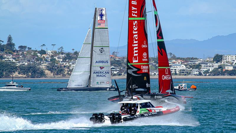 Emirates Team New Zealand and American Magic - Stadium Course - Waitemata Harbour - September 21, 2020 photo copyright Richard Gladwell / Sail-World.com taken at Royal New Zealand Yacht Squadron and featuring the AC75 class