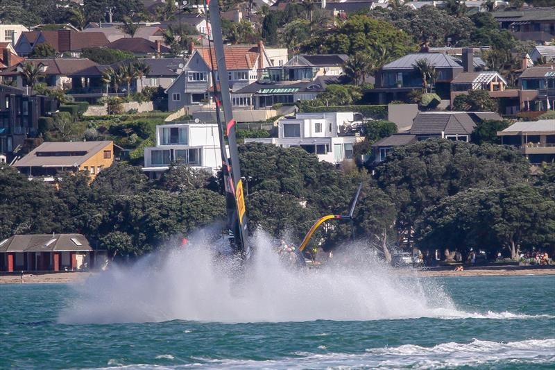 Splashdown after a minor sky jump - Luna Rossa Prada Pirelli - October - Waitemata Harbour - Auckland - 36th America's Cup - photo © Richard Gladwell / Sail-World.com