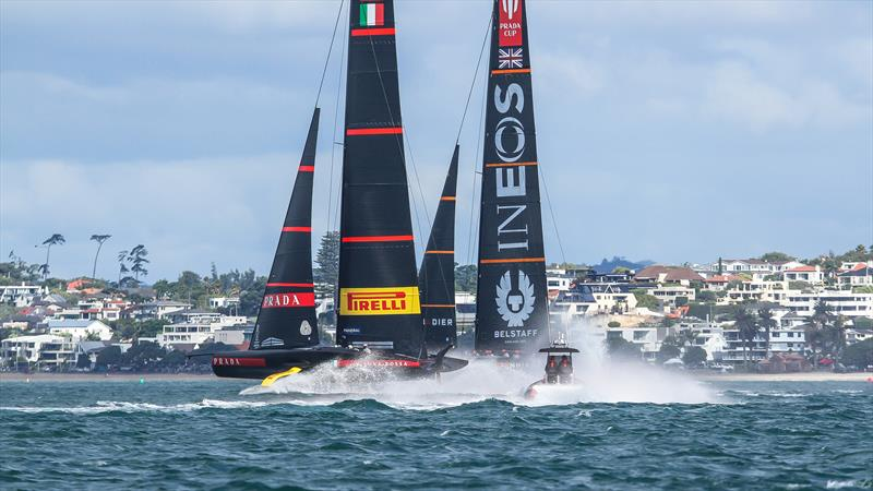INEOS Team UK and Prada on the first leg - Waitemata Harbour - January 23, 2021 - 36th America's Cup - photo © Richard Gladwell / Sail-World.com
