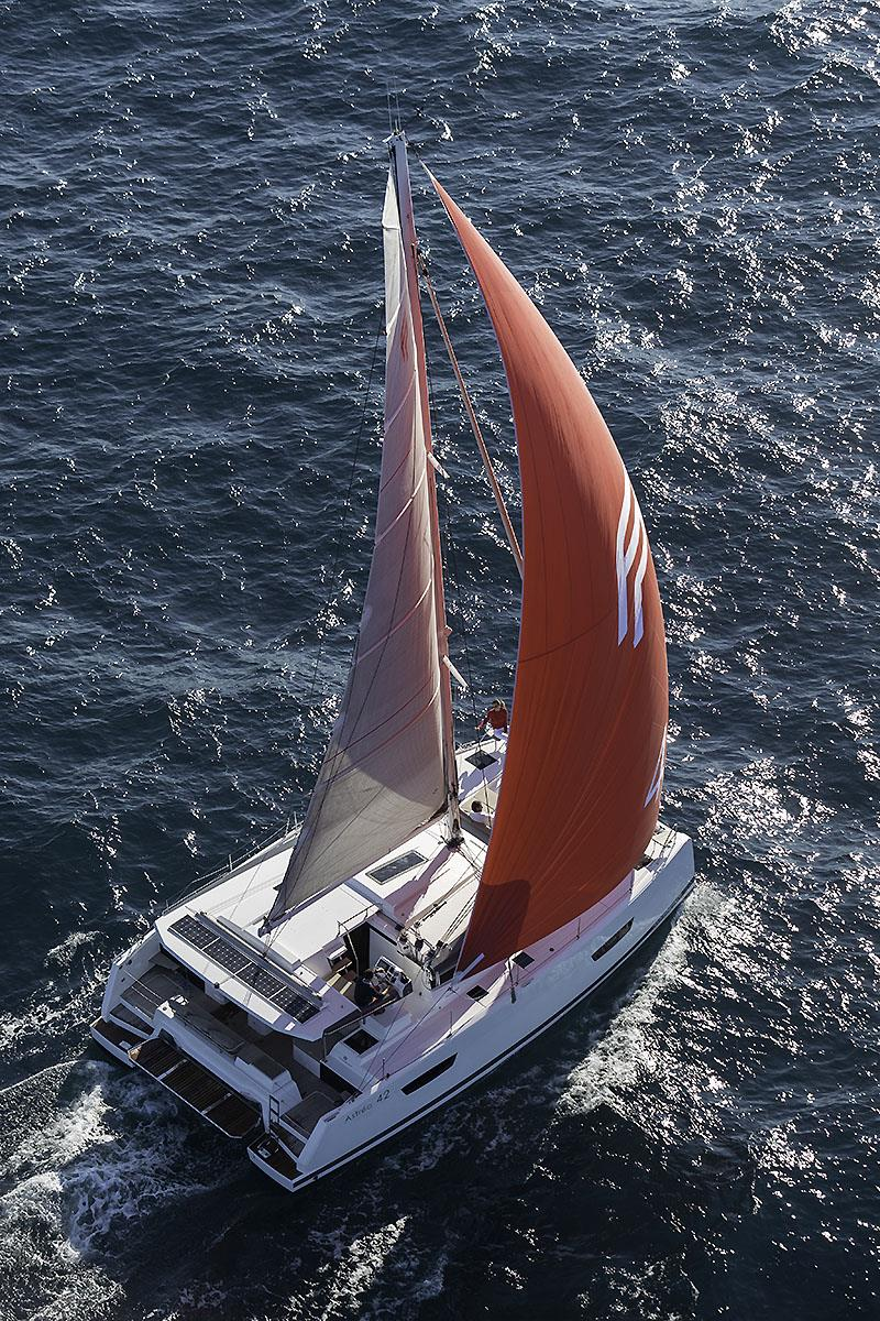 Under sail withe the new Astrea 42, and she looks to have been given a healthy sail plan as well. - photo © Gilles Martin-Raget