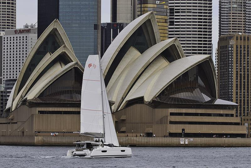 Fountaine Pajot's new Astréa 42 on Sydney Harbour. - photo © John Curnow