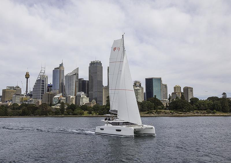 Fountaine Pajot's new Astréa 42 sailing on Sydney Harbour - photo © John Curnow