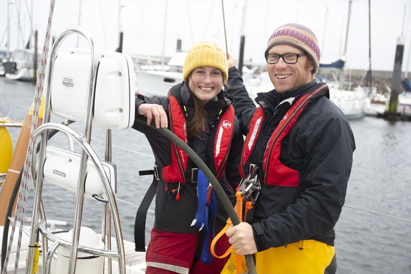 Daniel Smith and Becky Jeffrey onboard their boat InTuition in Largs photo copyright RYA Scotland taken at  and featuring the Cruising Yacht class
