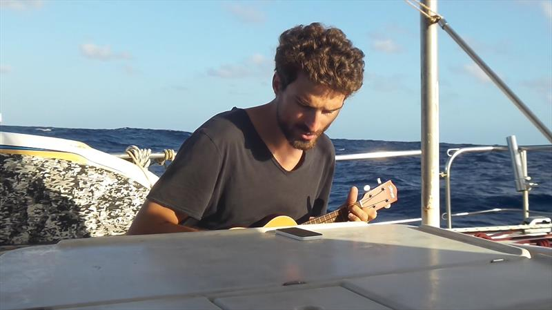 Jeremie and his ukelele on deck - photo © Mission Ocean
