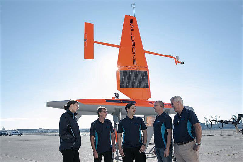 CSIRO Oceans and Atmosphere Team with one of their Saildrones - photo © CSIRO