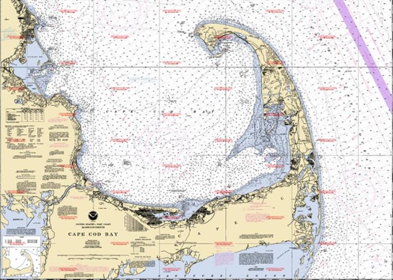 A NOAA nautical chart of Cape Cod Bay. Nautical charts and maps are essential to navigating safely out on the water. - photo © NOAA Fisheries