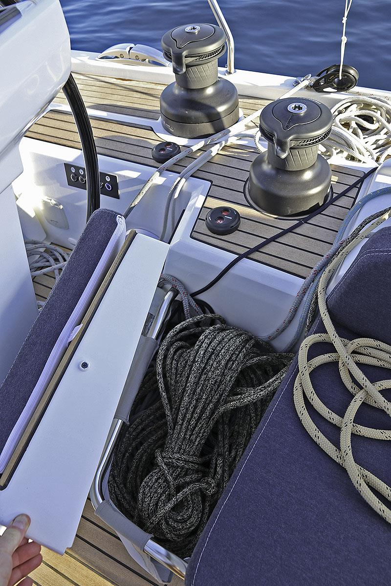 Control lines all fed aft and within easy reach of the helmer and the powered winches - photo © John Curnow