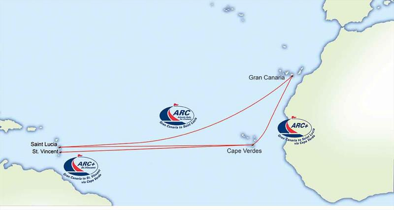 ARC  St. Vincent - Route Map - photo © World Cruising