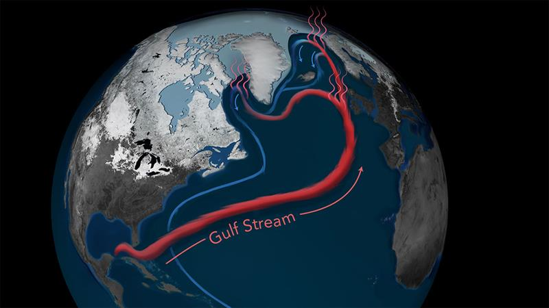 When it comes to regulating global climate, the circulation of the Atlantic Ocean plays a key role. The Gulf Stream carries warm, salty water to the Labrador Sea and the Nordic Seas, where it releases heat to the atmosphere and warms Western Europe. - photo © Natalie Renier, Woods Hole Oceanographic Institution
