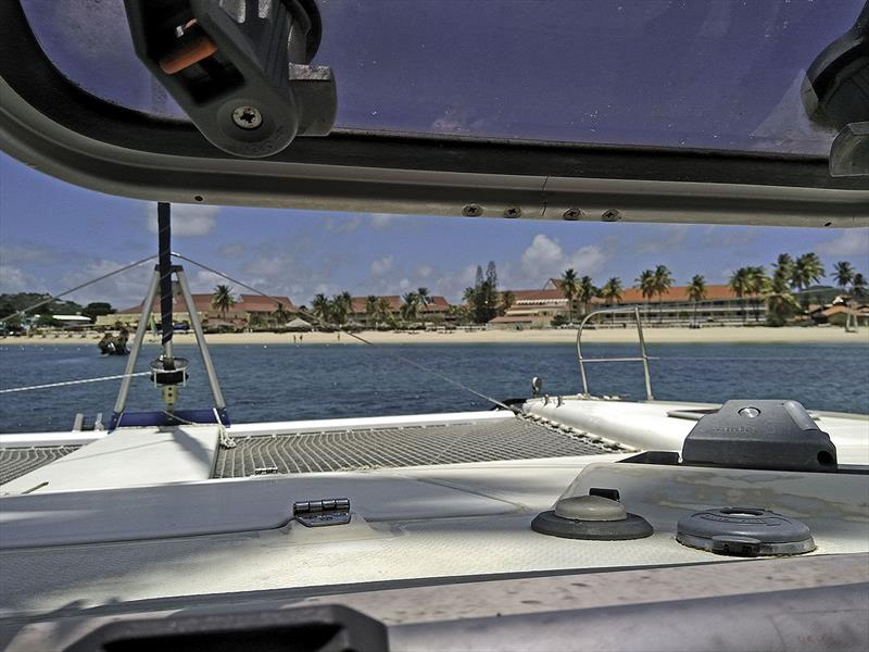 The view from the cockpit at Rodney Bay - photo © Mission Océan