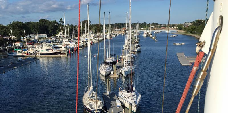 From the Mast, Moored Boats in the river at NYAC Pelham - photo © SV Crystal Blues