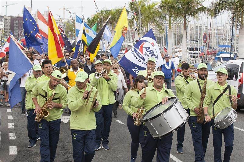 La Charanga de la Aldea lead crew from 30 nations around the marina at the official ARC Opening Ceremony in Las Palmas de Gran Canaria - photo © Clare Pengelly