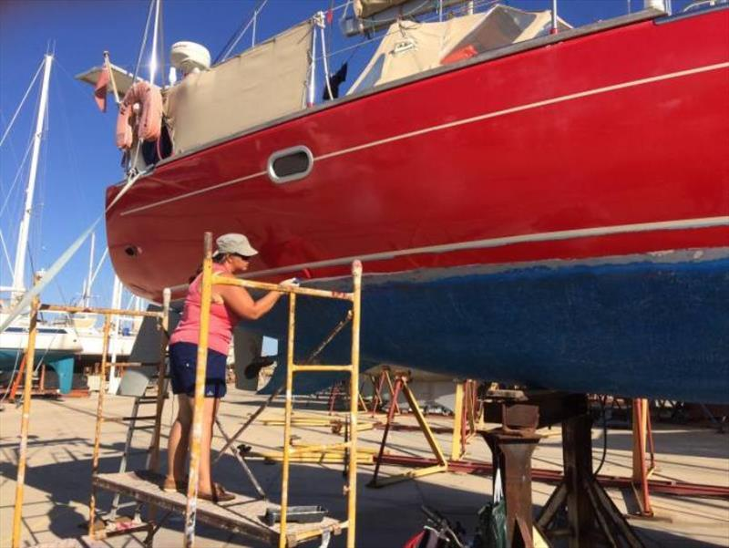 Painting … women's work photo copyright SV Red Roo taken at  and featuring the Cruising Yacht class