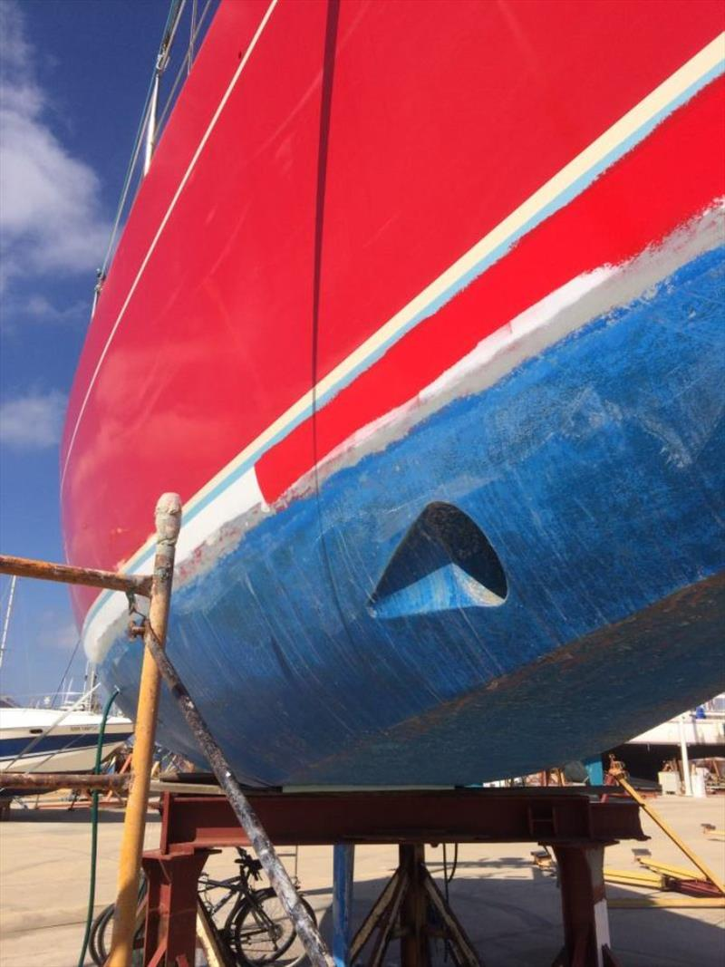 Re-doing the red on the waterline photo copyright SV Red Roo taken at  and featuring the Cruising Yacht class