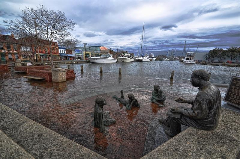 Sea level rise above the city's existing sea walls regularly floods the City Dock in Annapolis, Maryland.  photo copyright Amy McGovern taken at  and featuring the Cruising Yacht class