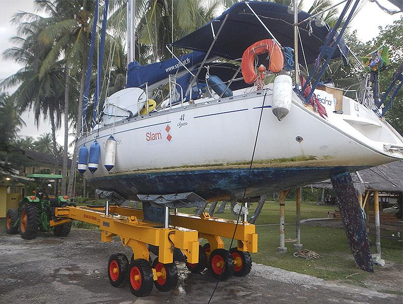 38-tonne and 2m draft haul out hydraulic trailer at Medana Bay Marina, Lombok, Indonesia. - photo © Greg Butchart