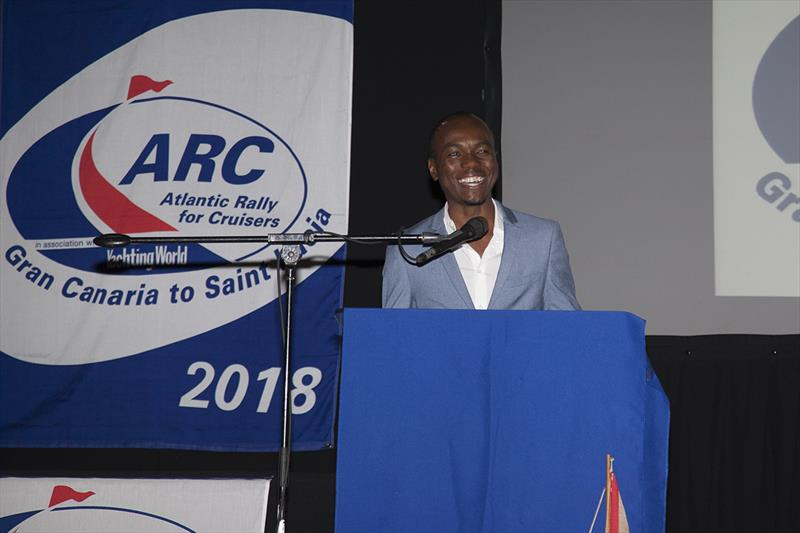 2018 ARC - Prize-giving - Hon. Dominic Fedee, Minister for Tourism, Information and Broadcasting gave an enthusiastic speech highlighting the importance of the rally to the island and the exciting developments in store for Saint Lucia in the future. - photo © Clare Pengelly