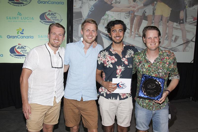 2018 ARC - Prize-giving - The crew of Seren, awarded the Spirit of the ARC for standing by a stricken non-ARC yacht for 11 days and assisting them in to Saint Lucia.  - photo © Clare Pengelly