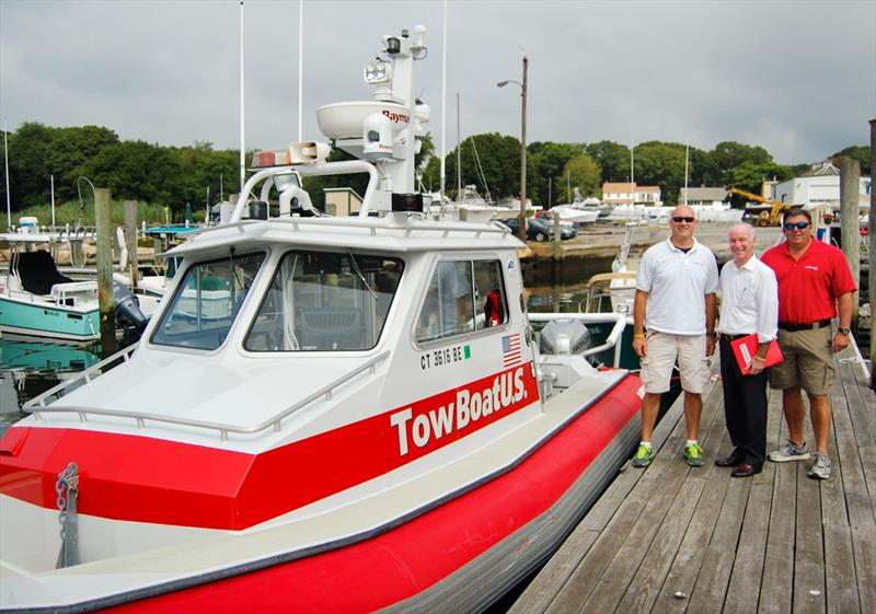 (L to R) Capt. Jeff Dziedzic, TowBoatUS Mystic, Connecticut; Rep. Joe Courtney (D-Conn.); and Capt. Keith Turgeon, TowBoatUS Mystic. photo copyright Tow BoatUS Mystic taken at  and featuring the Cruising Yacht class