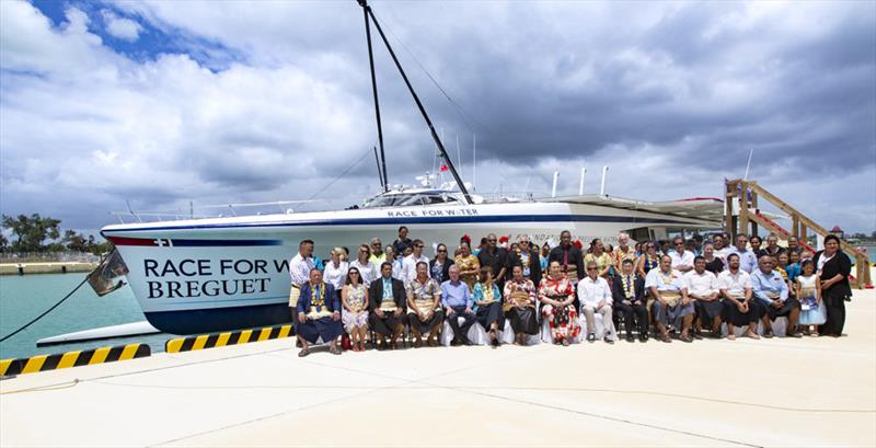 Group photo with HRH Princess Salote Mafileo Pilolevu - Race for Water photo copyright Peter Charaf taken at  and featuring the Cruising Yacht class