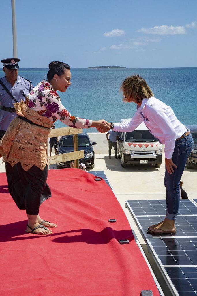 Annelore Le Duff welcoming Hon Frederica Fatafehi O Lapaha Tuita - Race for Water photo copyright Peter Charaf taken at  and featuring the Cruising Yacht class