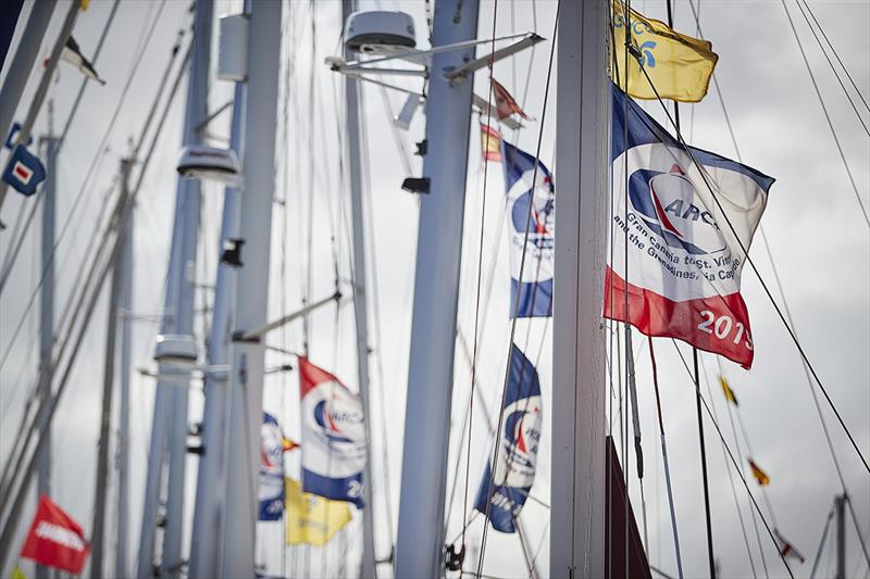 ARC  Rally flags flying before the start.  photo copyright World Cruising Club / James Mitchell taken at  and featuring the Cruising Yacht class