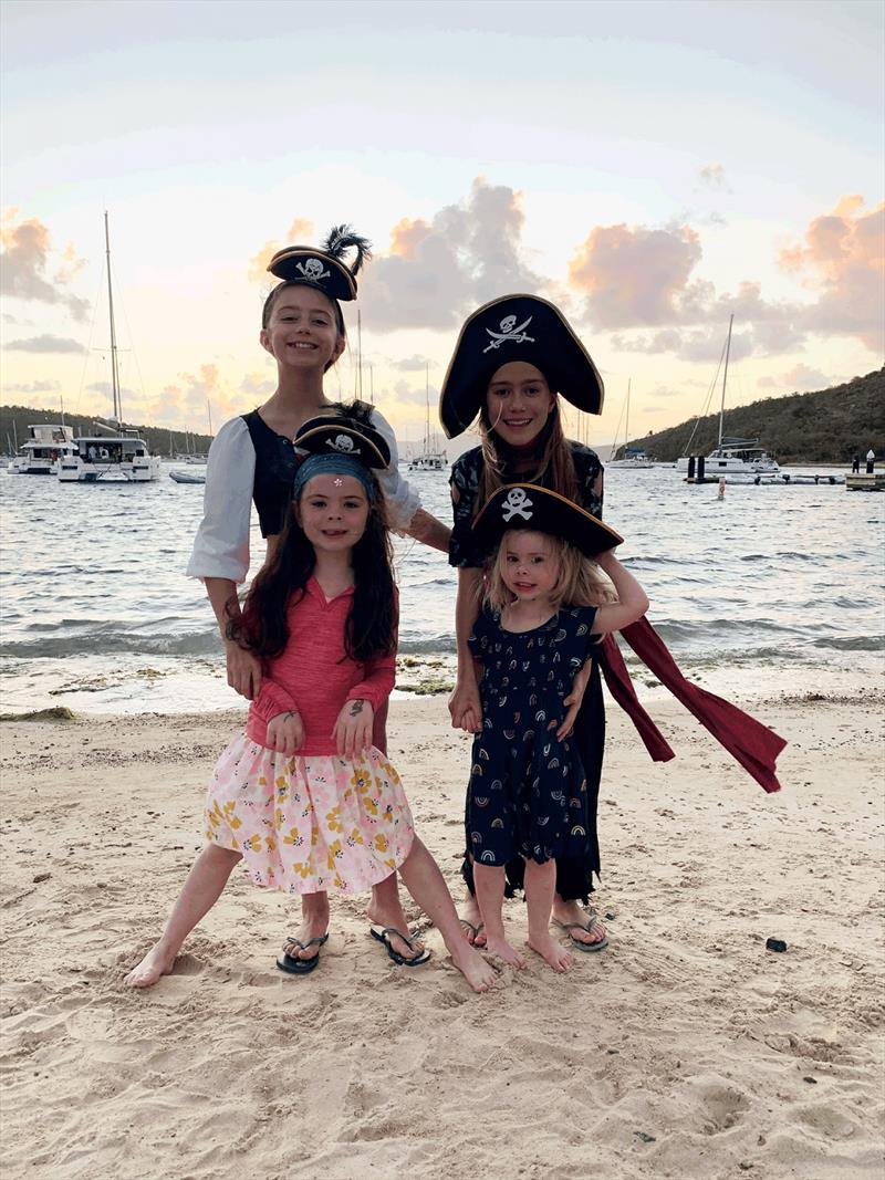 The girls all dressed up and ready for the Pirate Party at Pirate's Bight. photo copyright Catherine Guiader taken at  and featuring the Cruising Yacht class