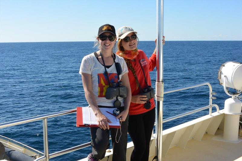 Grace Russell and Aisleen Dilks on board the Whale Song vessel, with the Centre for Whale Research, Western Australia. photo copyright Karin von Behrens taken at  and featuring the Cruising Yacht class