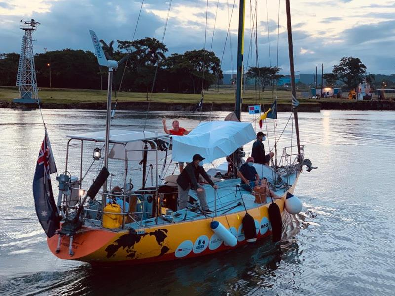 Jon Sanders transits the Panama Canal photo copyright Jon Sanders taken at  and featuring the Cruising Yacht class