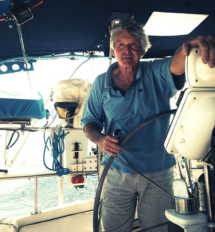 Barry Stedman at the helm of the 50' S/V Imagine photo copyright Kathryn Ellis taken at  and featuring the Cruising Yacht class