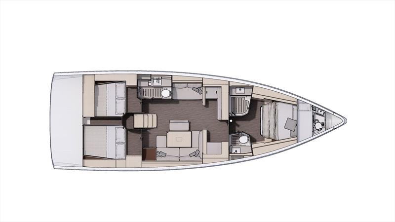 Dufour 470 Cabin layout - photo © Liz Rushall