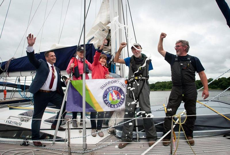 Garry Crothers winner of the OCC Seamanship Award for 2020 arrives to a hero's welcome in Derry, Northern Ireland. - photo © Daria Blackwell