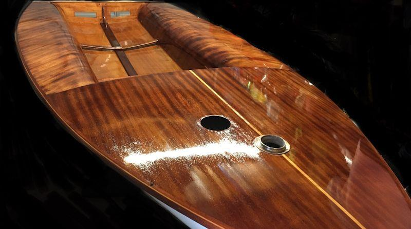 Restoration of Europe number 95, built in 1979 - beautiful varnished decks - photo © Clare Giles