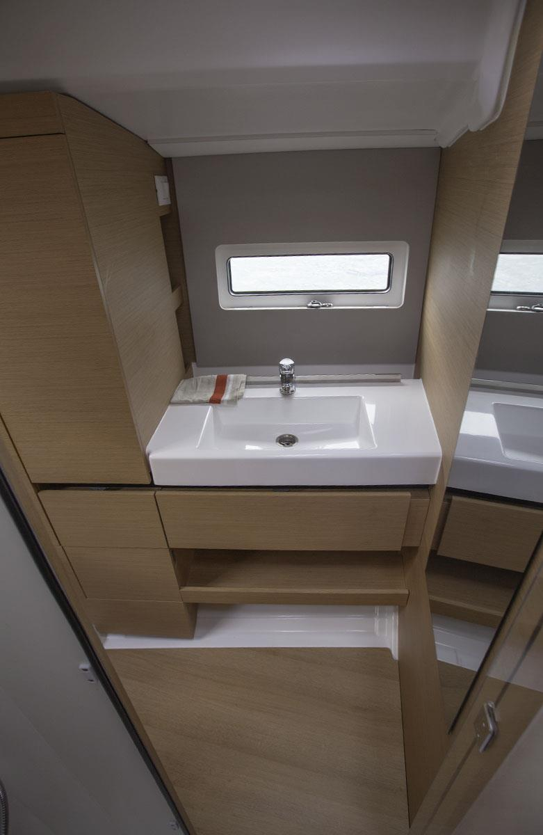 Basin is immediately opposite the wet room - Jeanneau Sun Odyssey 490 - photo © John Curnow