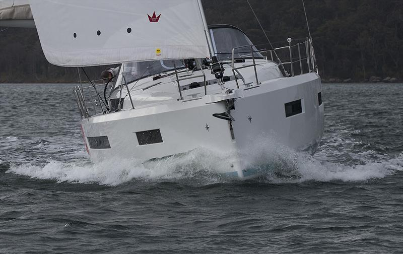 Volume afforded by the step that the chine creates, and she is virtually as beamy at the quarters as she is at the V1s - Jeanneau Sun Odyssey 490 - photo © John Curnow