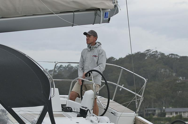 Lee Condell at the helm of the glorious Jeanneau Sun Odyssey 490 out on Pittwater. - photo © John Curnow
