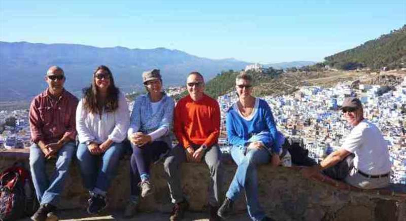 The crew at the abandoned Spanish mosque looking down over Chefchaouen - photo © SV Red Roo
