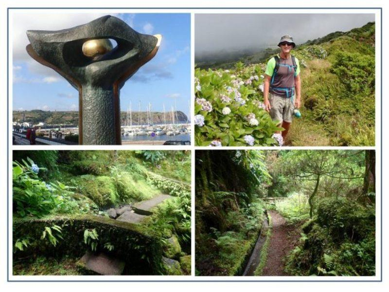Public Art is common throughout Azores and includes sculptures, murals, mosaic roads and colorful banners. The Author hiking along the rim of Faial's Caldera. The stillness and quiet of the lush forests of the Lavada trail (canal works) was captivating. - photo © Rod Morris