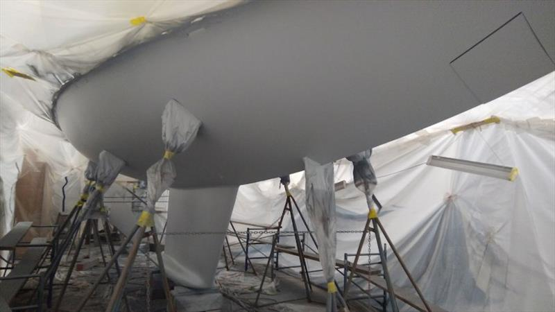 Antifouling - Final barrier coat - photo © Lyman-Morse Boatbuilding