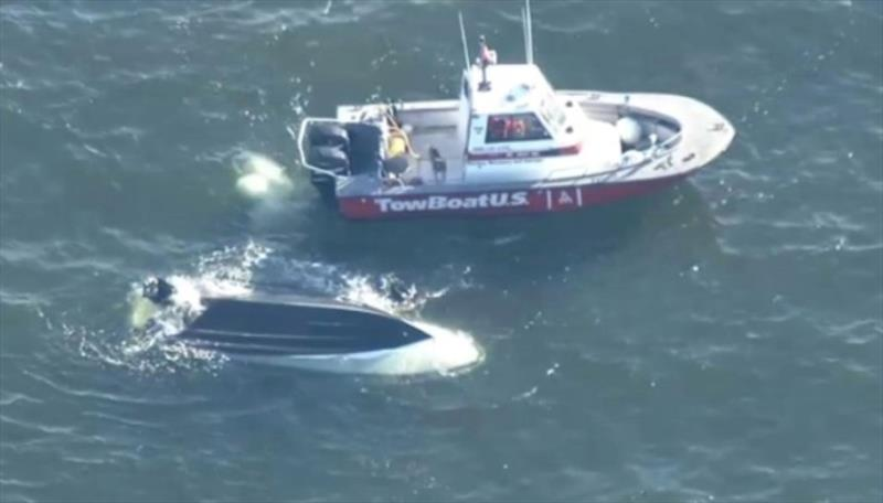 Rescue of nine people in Buzzards Bay - photo © Photo from New England Cable News report