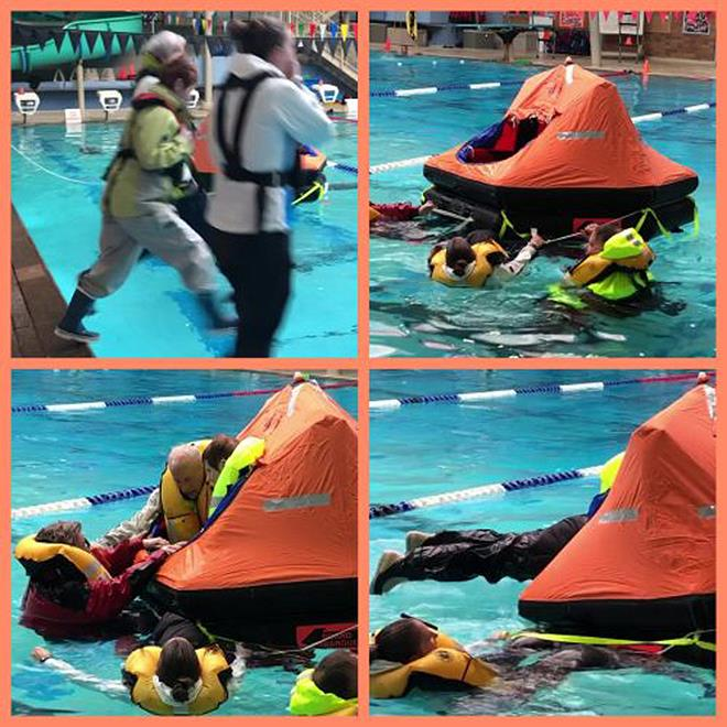 From Upper Left: One, two, three and we're in the pool; Life raft fully inflated; Now how do I get in; and Hooray, in she goes! - photo © Joan & Ken Newman