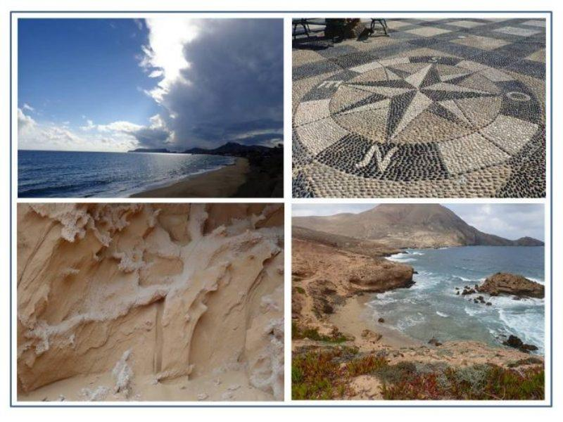 The long beach at Porto Santo. Mosaic paving in the pedestrian plaza. One of the many seaside trails on Santos along which we saw many examples of intricate sandstone erosion. - photo © Rod Morris