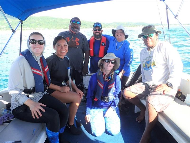 Team members from NOAA, CNMI DLNR, FishGuyz Scuba and Charter, and Jessy's Tagging Services during boat-based operations in the CNMI. - photo © NOAA Fisheries