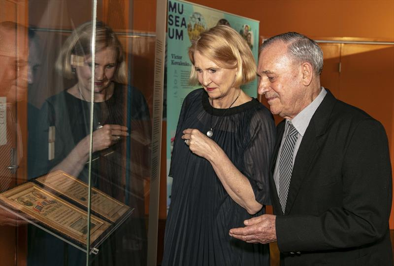 Senior Curator at The Australian National Martime Museum, Daina Fletcher, with Mark Foy (Grandson) - photo © ANMM