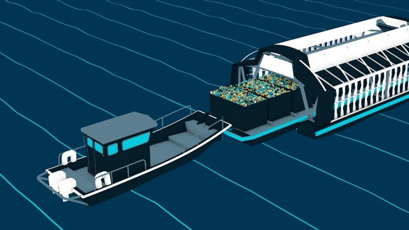 Animation of barge being taken out of the Interceptor for emptying. photo copyright The Ocean Cleanup taken at
