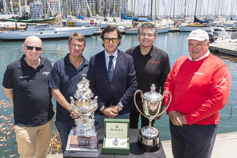 The 2019 Rolex Sydney Hobart media launch set the scene for the historic 75th race with Bill Barry-Cotter (Katwinchar), Sean Langman (Naval Group), Patrick Boutellier (General Manager Rolex Australia), Jim Cooney (Comanche) and Iain Murray (Wild Oats XI). - photo © Andrea Francolini