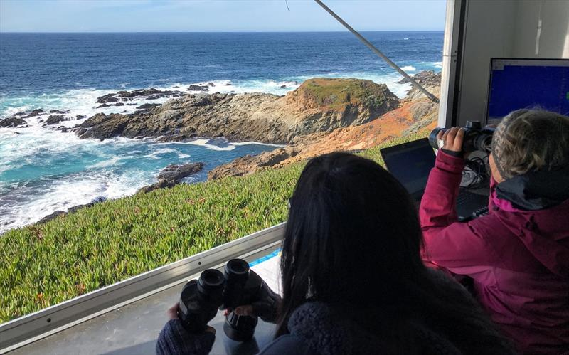 A team from NOAA Fisheries' Southwest Fisheries Science Center watches for gray whales migrating south from the Arctic to Mexico from an observing station at Granite Canyon, on the central California Coast. - photo © NOAA Fisheries/SWFSC