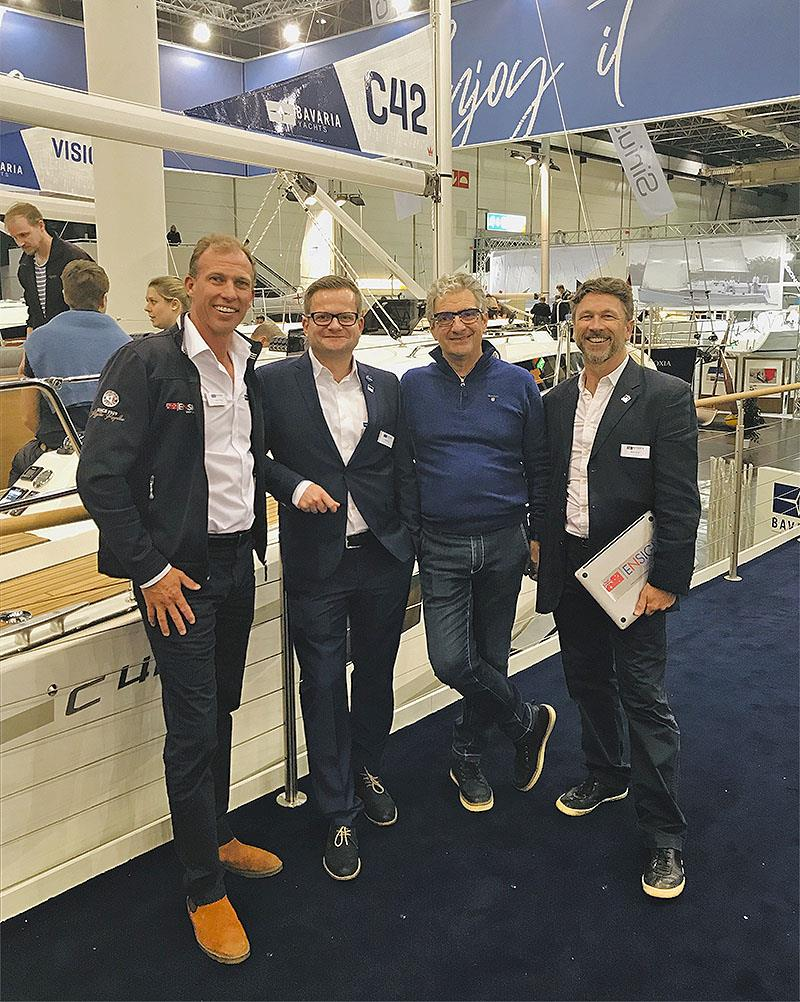 Senior Ensign Broker Jason Chipp with Project Manager Pascal Kuhn, Designer Maurizio Cossutti, and Ensign Brokers CEO Sean Rush on hand for the launch of the new C42 at the Düsseldorf Boat Show - photo © Ensign Yacht Brokers